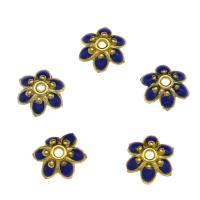 Zinklegierung Perlenkappe, Blume, goldfarben plattiert, Emaille, blau, frei von Nickel, Blei & Kadmium, 8.6x2.6mm, Bohrung:ca. 1.3mm, 10PCs/Tasche, verkauft von Tasche