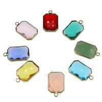 Messing Schmuck Anhänger, mit Kristall, goldfarben plattiert, keine, frei von Nickel, Blei & Kadmium, 22x13.80x5.70mm, Bohrung:ca. 2.5mm, 100PCs/Tasche, verkauft von Tasche
