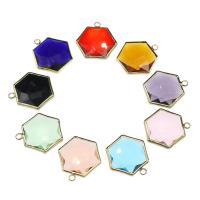 Messing Schmuck Anhänger, mit Kristall, Sechseck, goldfarben plattiert, keine, frei von Nickel, Blei & Kadmium, 22x21x5.80mm, Bohrung:ca. 2.4mm, 100PCs/Tasche, verkauft von Tasche