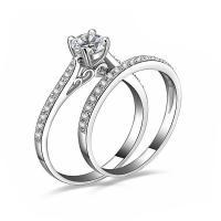 Messing Paar- Ring, platiniert, verschiedene Größen vorhanden & Micro pave Zirkonia, frei von Nickel, Blei & Kadmium, verkauft von Paar