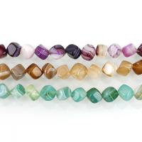 Natürliche Streifen Achat Perlen, Quadrat, verschiedene Größen vorhanden, keine, Bohrung:ca. 1.5mm, ca. 40PCs/Strang, verkauft per ca. 15 ZollInch Strang