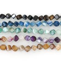 Natürliche Streifen Achat Perlen, Quadrat, verschiedene Größen vorhanden, keine, Bohrung:ca. 1.5mm, ca. 32PCs/Strang, verkauft per ca. 15.5 ZollInch Strang