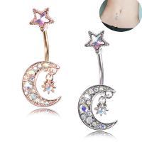 Edelstahl -Bauch-Ring, Mond und Sterne, plattiert, für Frau & mit Strass, keine, 14*34mm, 5PCs/Menge, verkauft von Menge