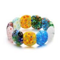 Lampwork Armbänder, für Frau & innen Blume, gemischte Farben, verkauft per ca. 7.5 ZollInch Strang