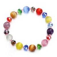 Cats Eye Armbänder, Katzenauge, mit Lampwork, für Frau & facettierte, gemischte Farben, 10mm, verkauft per ca. 7.5 ZollInch Strang