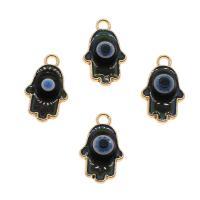Zinklegierung Anhänger, Evil Eye Hamsa, goldfarben plattiert, Mood Emaille, frei von Nickel, Blei & Kadmium, 20x12x4mm, Bohrung:ca. 1mm, 10PCs/Tasche, verkauft von Tasche