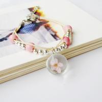 Lampwork Armband, mit Porzellan Papier & Getrocknete Blumen & Wachsschnur & Zinklegierung, Platinfarbe platiniert, unisex & einstellbar & verschiedene Muster für Wahl, 15mm, Länge:ca. 7.5 ZollInch, 2SträngeStrang/Menge, verkauft von Menge