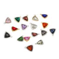 Glas Zinklegierung Anhänger, mit Glas, Dreieck, plattiert, keine, frei von Nickel, Blei & Kadmium, 18.50x16x6mm, Bohrung:ca. 1.5mm, ca. 100PCs/Tasche, verkauft von Tasche