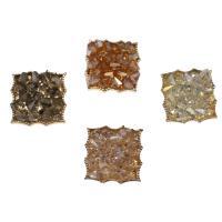 Zinklegierung Knopf, mit Glas, Squaredelle, goldfarben plattiert, keine, frei von Nickel, Blei & Kadmium, 31x24x10.50mm, Bohrung:ca. 3mm, ca. 20PCs/Tasche, verkauft von Tasche