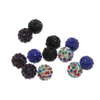 Polymer Ton Perlen , rund, mit Strass, keine, 10mm, Bohrung:ca. 1.5mm, ca. 100PCs/Tasche, verkauft von Tasche
