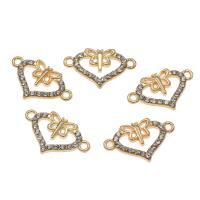 Herz Zinklegierung Schmuckverbinder, goldfarben plattiert, mit Strass & 1/1-Schleife, frei von Nickel, Blei & Kadmium, 23x14x2mm, Bohrung:ca. 1.5mm, ca. 50PCs/Tasche, verkauft von Tasche