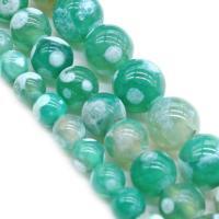 Natürliche Crackle Achat Perlen, Flachen Achat, rund, poliert, verschiedene Größen vorhanden, grün, Bohrung:ca. 1mm, verkauft von Strang