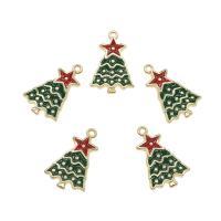 Zinklegierung Weihnachten Anhänger, Weihnachtsbaum, goldfarben plattiert, Emaille, frei von Nickel, Blei & Kadmium, 24.50x15.50x2.50mm, Bohrung:ca. 1.5mm, ca. 100PCs/Tasche, verkauft von Tasche
