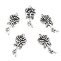 Zinklegierung Blume Anhänger, Rose, antik silberfarben plattiert, frei von Nickel, Blei & Kadmium, 43x19.50x3.50mm, Bohrung:ca. 2mm, ca. 100PCs/Tasche, verkauft von Tasche
