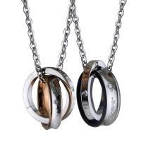 Titanstahl Ehepaar Halskette, Oval-Kette & mit Strass, keine, 22x6mm,21x4mm, verkauft per ca. 15 ZollInch Strang