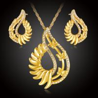 Zinklegierung Mode Schmuckset, Ohrring & Halskette, mit Österreichischer Kristall, mit Verlängerungskettchen von 5cm, goldfarben plattiert, für Frau, frei von Nickel, Blei & Kadmium, 25.4x40mm,17x26mm, Länge:ca. 17.72 ZollInch, verkauft von setzen