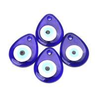 Glas Anhänger, Tropfen, böser Blick- Muster & verschiedene Größen vorhanden & Emaille, blau, Bohrung:ca. 5mm, 12PCs/Tasche, verkauft von Tasche