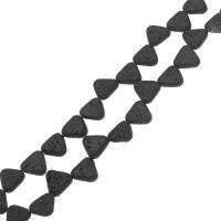 Natürliche Lava Perlen, Dreieck, schwarz, 14.50x13.50x4.50mm, Bohrung:ca. 1mm, ca. 26PCs/Strang, verkauft per ca. 14.9 ZollInch Strang