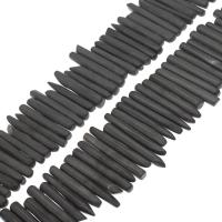 Natürliche Lava Perlen, Bian Stein, schwarz, 40*6*5mm-51*8*7mm, Bohrung:ca. 1mm, verkauft per ca. 14.9 ZollInch Strang