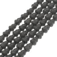 Natürliche Lava Perlen, Kalebasse, schwarz, 13*10mm, Bohrung:ca. 1mm, ca. 28PCs/Strang, verkauft per ca. 14.9 ZollInch Strang