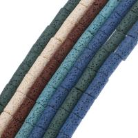 Natürliche Lava Perlen, Zylinder, keine, 16*9mm, Bohrung:ca. 1mm, ca. 21PCs/Strang, verkauft per ca. 14.9 ZollInch Strang