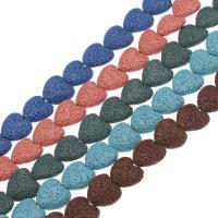 Natürliche Lava Perlen, Herz, keine, 21*20mm, Bohrung:ca. 1mm, 18PCs/Strang, verkauft per ca. 14.9 ZollInch Strang