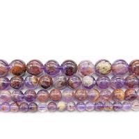 Lila+Phantom+Quarz Perle, rund, verschiedene Größen vorhanden, Bohrung:ca. 1mm, verkauft per ca. 14.9 ZollInch Strang