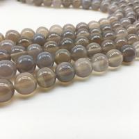 Natürliche graue Achat Perlen, Grauer Achat, rund, verschiedene Größen vorhanden, Bohrung:ca. 1mm, verkauft per ca. 14.9 ZollInch Strang
