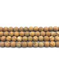 Holzmaserung Stein Perlen, Grain Stein, rund, verschiedene Größen vorhanden & satiniert, erdgelb, Bohrung:ca. 1mm, verkauft per ca. 14.9 ZollInch Strang