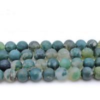 Natürliche Moos Achat Perlen, rund, verschiedene Größen vorhanden & satiniert, Bohrung:ca. 1mm, verkauft per ca. 14.9 ZollInch Strang