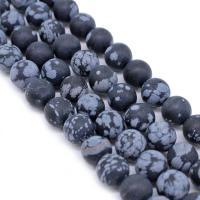 Schneeflocke Obsidian, rund, verschiedene Größen vorhanden & satiniert, Bohrung:ca. 1mm, verkauft per ca. 14.9 ZollInch Strang