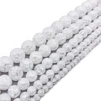 Kristall-Perlen, Kristall, rund, verschiedene Größen vorhanden & Knistern, Kristall, Bohrung:ca. 1mm, verkauft per ca. 14.9 ZollInch Strang