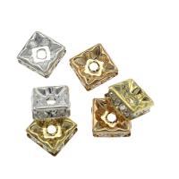 Strass Messing Perlen, Quadrat, plattiert, DIY & verschiedene Größen vorhanden & mit Strass, keine, frei von Nickel, Blei & Kadmium, Bohrung:ca. 1.5mm, verkauft von Tasche