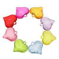 Acryl Anhänger, Herz, DIY, gemischte Farben, 27.50x27x5mm, Bohrung:ca. 3mm, ca. 160PCs/Tasche, verkauft von Tasche