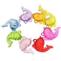 Acryl Anhänger, Goldfisch, DIY, gemischte Farben, 46x31x16mm, Bohrung:ca. 3.5mm, ca. 88PCs/Tasche, verkauft von Tasche