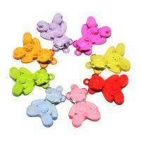 Acryl Anhänger, Bär, DIY, gemischte Farben, 34x23x11mm, Bohrung:ca. 2mm, ca. 142PCs/Tasche, verkauft von Tasche
