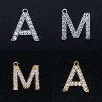 Zinklegierung Buchstaben Anhänger, plattiert, verschiedene Stile für Wahl & Micro pave Zirkonia, frei von Nickel, Blei & Kadmium, 3PCs/Menge, verkauft von Menge