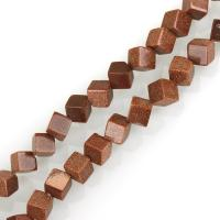 Goldstein Perlen, Goldsand, Quadrat, DIY, 8mm, Bohrung:ca. 1.5mm, ca. 38PCs/Strang, verkauft per ca. 17 ZollInch Strang