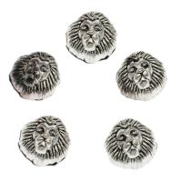 Zinklegierung Tier Perlen, Löwe, antik silberfarben plattiert, DIY, frei von Nickel, Blei & Kadmium, 12*9mm, Bohrung:ca. 2mm, 100PCs/Tasche, verkauft von Tasche