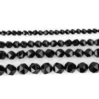 Natürliche schwarze Achat Perlen, Schwarzer Achat, DIY & verschiedene Größen vorhanden, schwarz, Bohrung:ca. 1.5mm, verkauft per ca. 15 ZollInch Strang