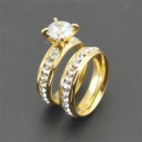 Edelstahl Paar- Ring, plattiert, verschiedene Größen vorhanden & mit kubischem Zirkonia, goldfarben, verkauft von Paar