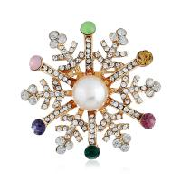 Messing Brosche, mit Kunststoff Perlen, Schneeflocke, goldfarben plattiert, unisex & mit Strass, 45*45mm, verkauft von Paar
