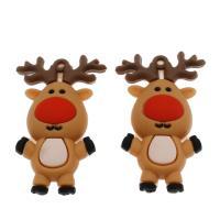 Harz Anhänger, Weihnachtselch, DIY, kakifarben, 59x36x19mm, Bohrung:ca. 3.2mm, 500PCs/Tasche, verkauft von Tasche