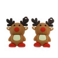 Harz Anhänger, Weihnachtselch, DIY, kakifarben, 46x33x8mm, Bohrung:ca. 1mm, 100PCs/Tasche, verkauft von Tasche