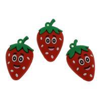 Harz Anhänger, Erdbeere, DIY, rot, 50x30x19mm, Bohrung:ca. 3.3mm, 100PCs/Tasche, verkauft von Tasche