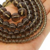 Natürliche Rauchquarz Perlen, rund, verschiedene Größen vorhanden, Bräune, Bohrung:ca. 1mm, verkauft per ca. 14.9 ZollInch Strang