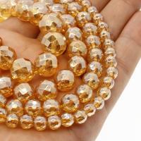 Natürliche klare Quarz Perlen, Klarer Quarz, rund, plattiert, verschiedene Größen vorhanden & facettierte, orange, Bohrung:ca. 1mm, verkauft per ca. 14.9 ZollInch Strang
