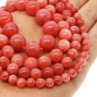 Rhodonit Perlen, rund, verschiedene Größen vorhanden, rot, Bohrung:ca. 1mm, verkauft per ca. 14.9 ZollInch Strang
