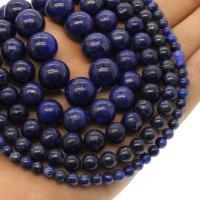 Lapislazuli Perlen, rund, verschiedene Größen vorhanden, Bohrung:ca. 1mm, verkauft per ca. 14.9 ZollInch Strang
