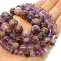 Lila+Phantom+Quarz Perle, rund, verschiedene Größen vorhanden, violett, Bohrung:ca. 1mm, verkauft per ca. 14.9 ZollInch Strang